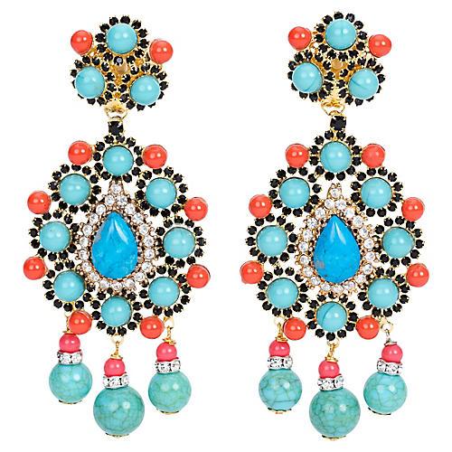 Vrba Coral & Turquoise Earrings