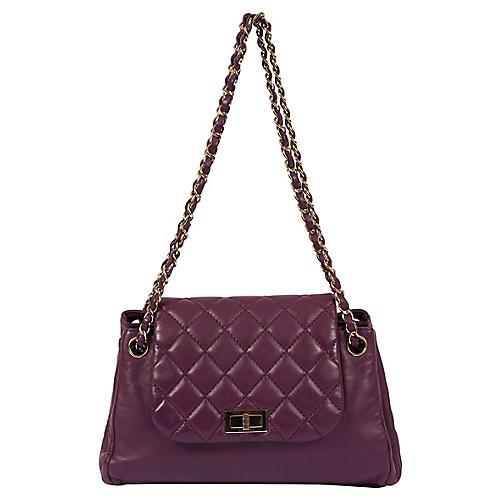 Chanel Purple Leather Shoulder Bag