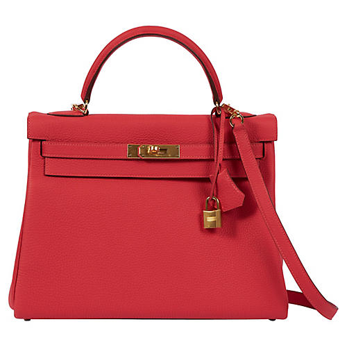 Hermès Rouge Pivoine Togo 32cm Kelly