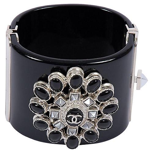 Chanel Black & Hematite Lucite Cuff