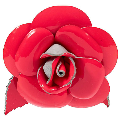 Chanel Fluorescent Pink Camellia Pin