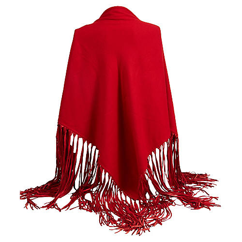 Hermès Red Cashmere/Leather Shawl