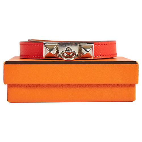 Hermès Rouge Pivoine Double Bracelet