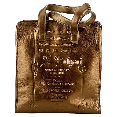 Bulgari Bronze Leather Large Tote