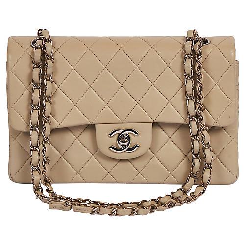 "Chanel Grey/cream 9"" Double Flap Silver"