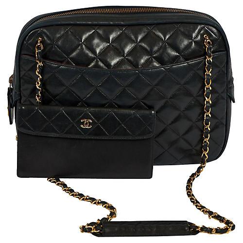 Chanel Black Vintage Shoulder Bag/Wallet