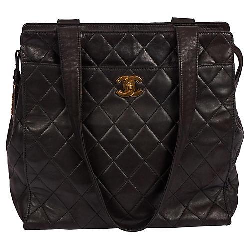 Chanel Large Vintage Black Leather Tote