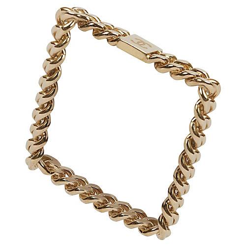 Chanel Light Gold Chain Square Bangle
