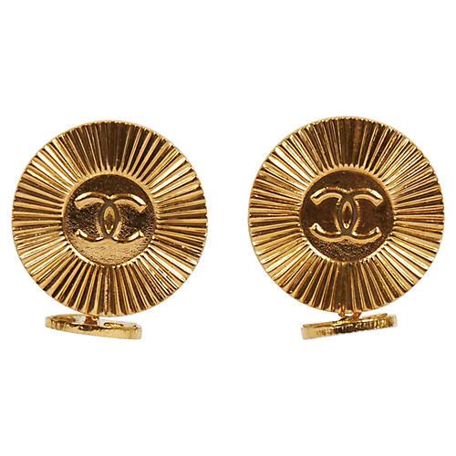 Chanel Gold Logo 80s Cufflinks