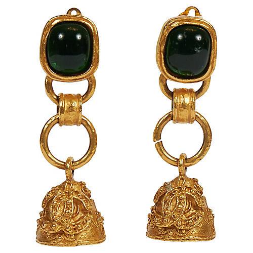 Chanel Green Gripoix Florentine Earrings