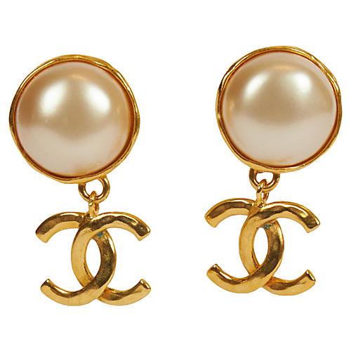 Chanel Classy Pearl Logo Drop Earrings