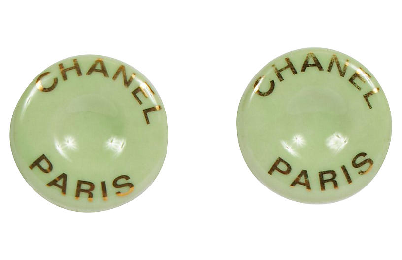 Chanel Mint Green Ceramic Clip Earrings