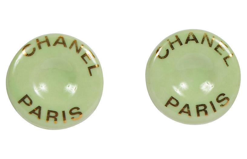 Chanel Mint Green Ceramic Clip Earrings