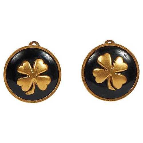 Chanel Black Enamel Clover Earrings