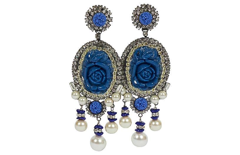 Vrba Blue Rosettes Chandelier Earrings