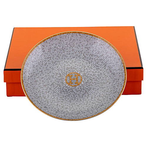 Hermès Gray Mosaic Porcelain Plate