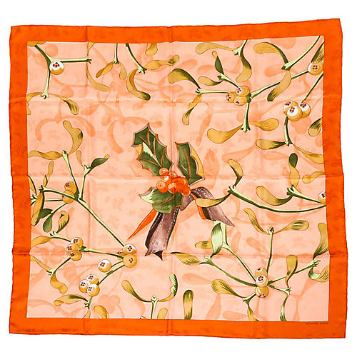 Hermès Orange Holly Silk Scarf