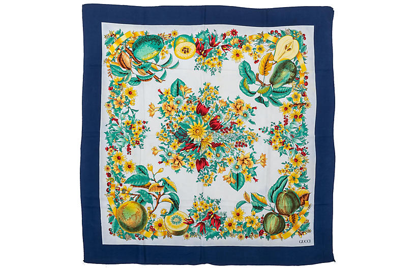 Gucci Floral & Fruits Navy Silk Scarf