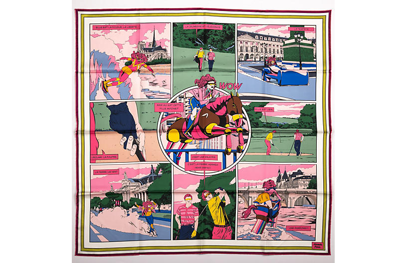 Hermès Double Face Comics Pink Scarf