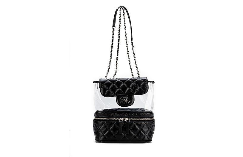 Chanel Black Leather & PVC Shoulder Bag