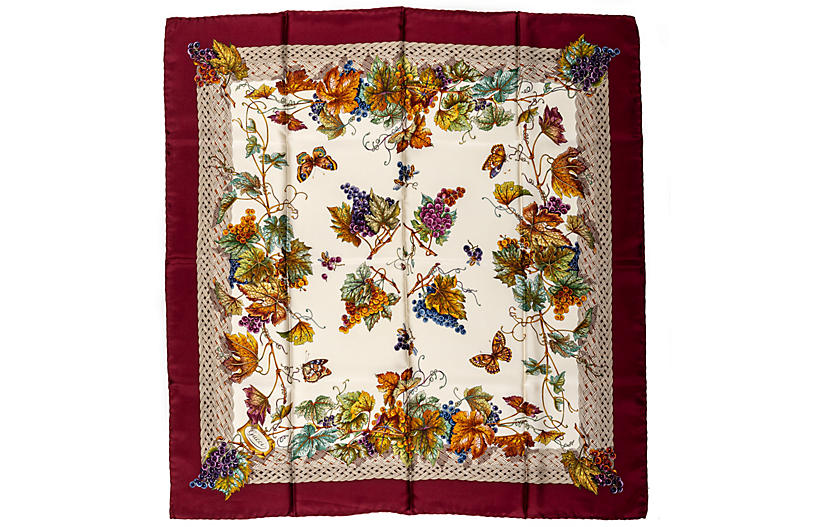 Gucci Leaves & Grapes Silk Scarf