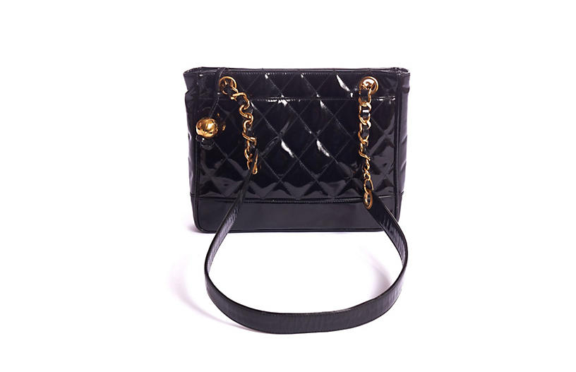 Chanel Black Patent Small Shoulder Bag