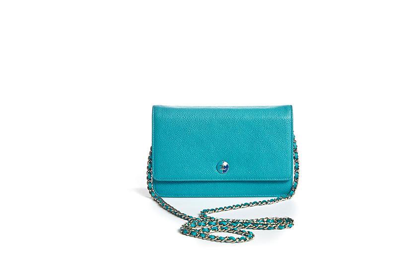 Chanel Turquoise Caviar Cross Body Bag