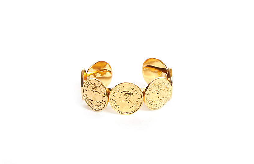 1980s Chanel Logo Coins Cuff Bracelet