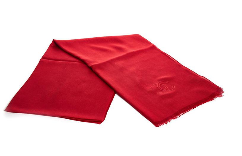 Chanel Red Cashmere Silk Shawl