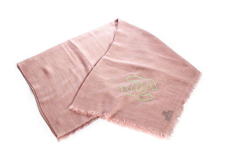 Chanel New Pink Cashmere Large Shawl