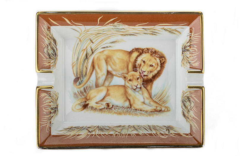 Hermès Lions Brown Porcelain Tray