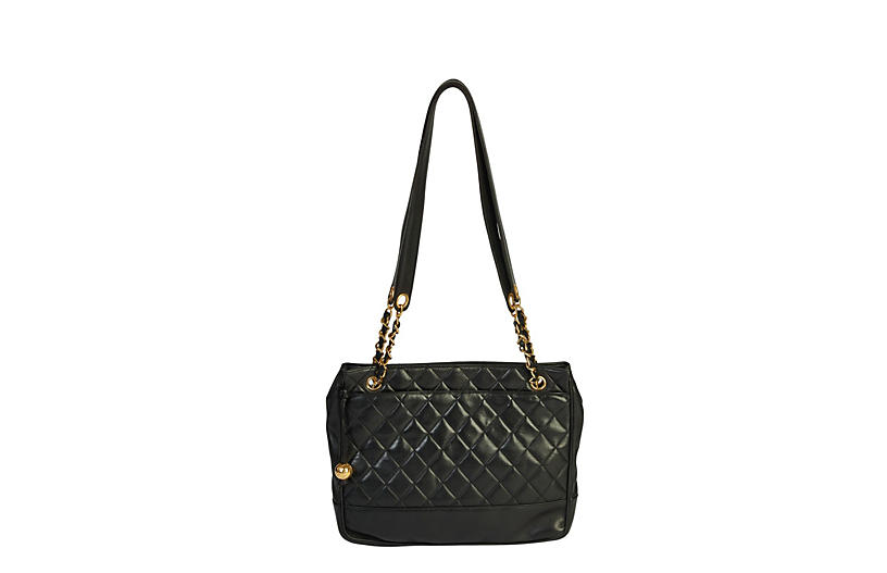Chanel Vintage Black Quilted Zipper Tote
