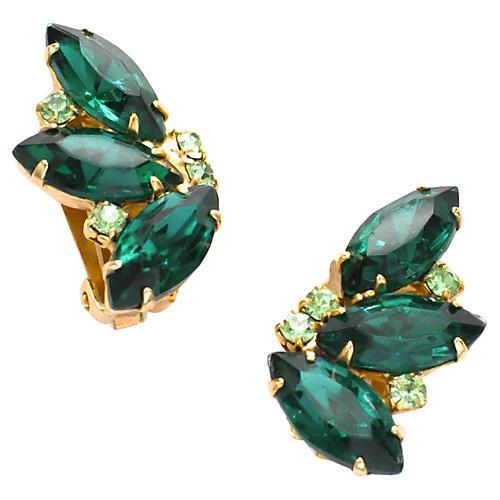 Emerald Green Crawler Earrings