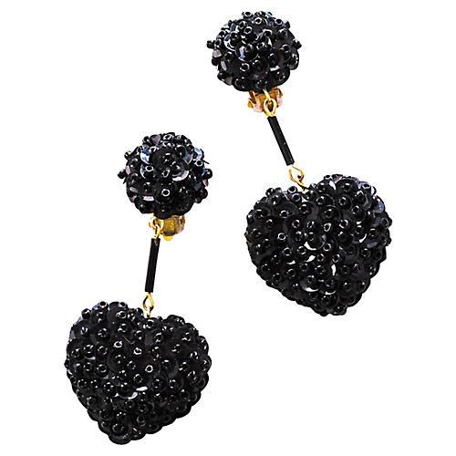Black Sequin Heart Earrings