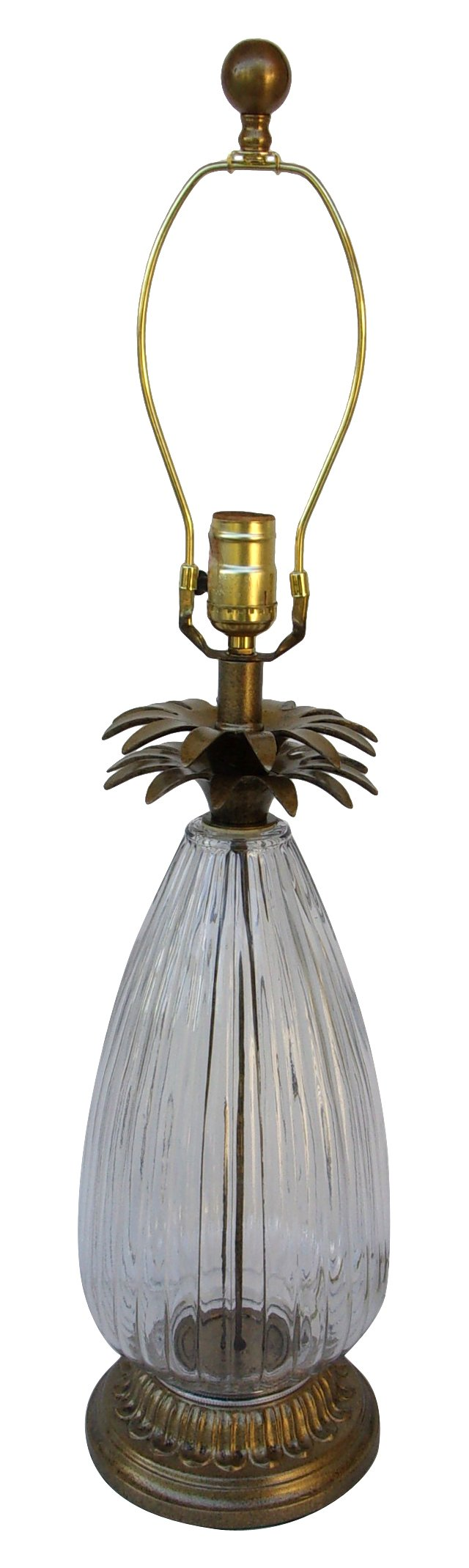 Midcentury Glass Pineapple Lamp