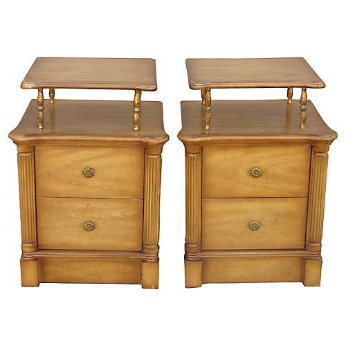 Regency-Style 2-Drawer Nightstands, Pair