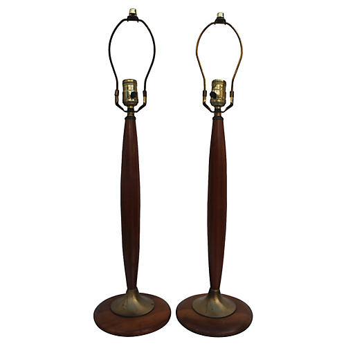Teak And Brass Table Lamps A Pair.