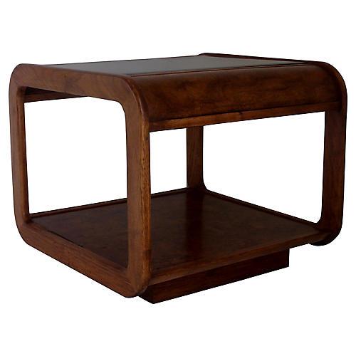 Midcentury Walnut & Burl-Wood Side Table