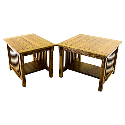 Two-Tier Oak Side Tables, S/2
