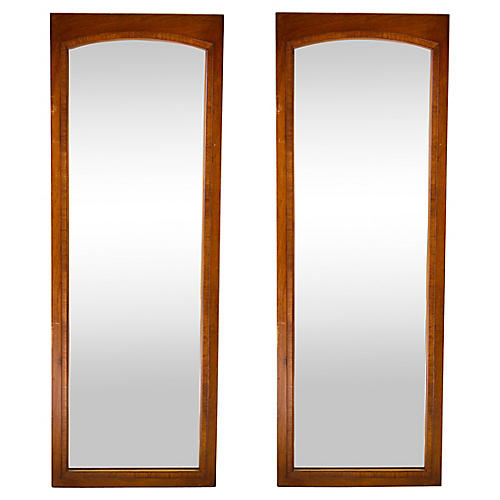 Midcentury Walnut Mirrors, Pair