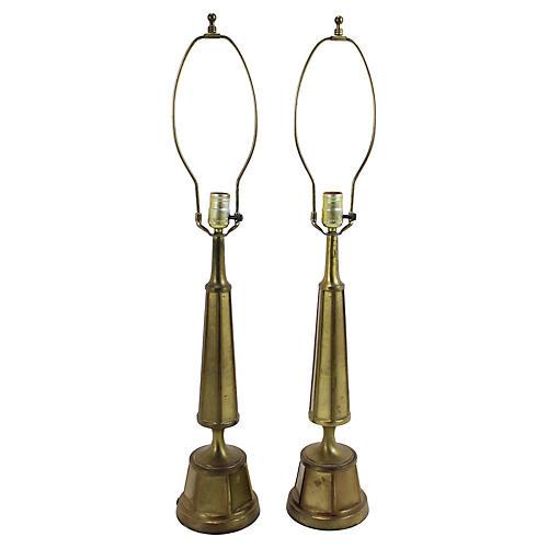 Midcentury Rembrandt Lamps, S/2