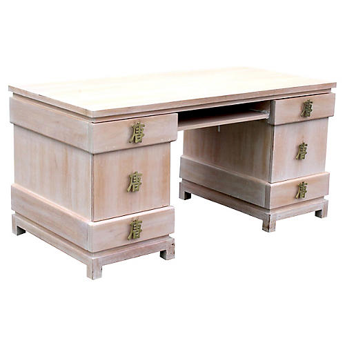 Desk w/ Brass Chinese Character Hardware
