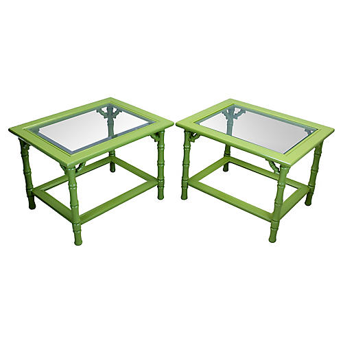 Midcentury Bamboo-Style Side Tables, S/2