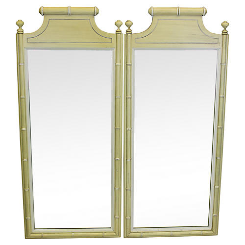 Midcentury Faux-Bamboo Mirrors, Pair