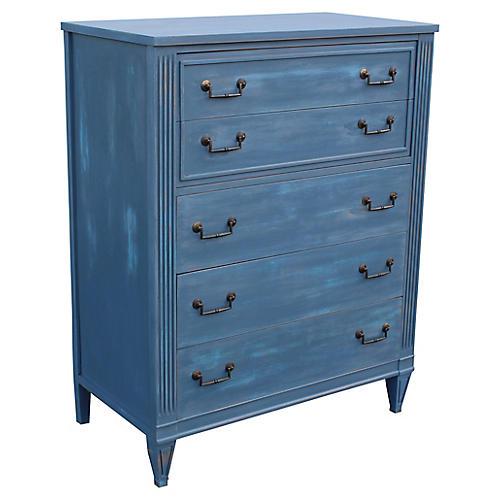 Midcentury 5-Drawer Highboy Dresser