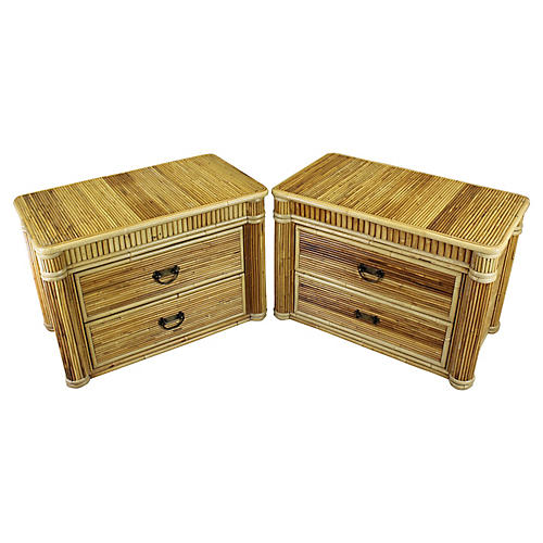 2-Drawer Bamboo Nightstands, S/2