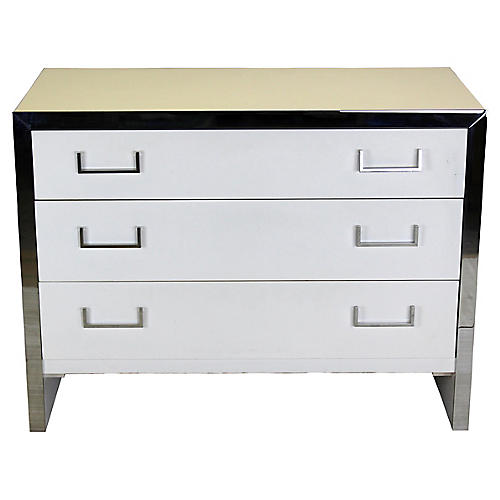 White Lacquered & Chrome Dresser