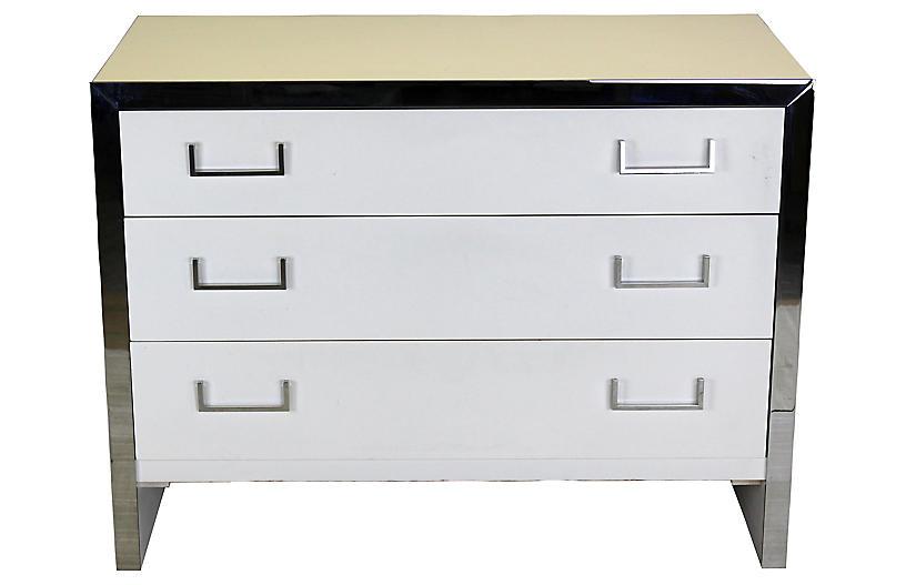 White Lacquered & Chrome Dresser