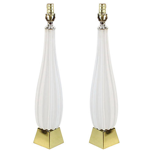 Plaster & Brass Table Lamps, Pair