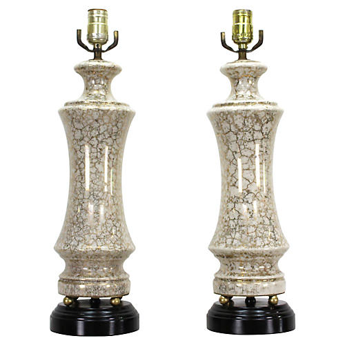 Pair of Gilt Porcelain Table Lamps
